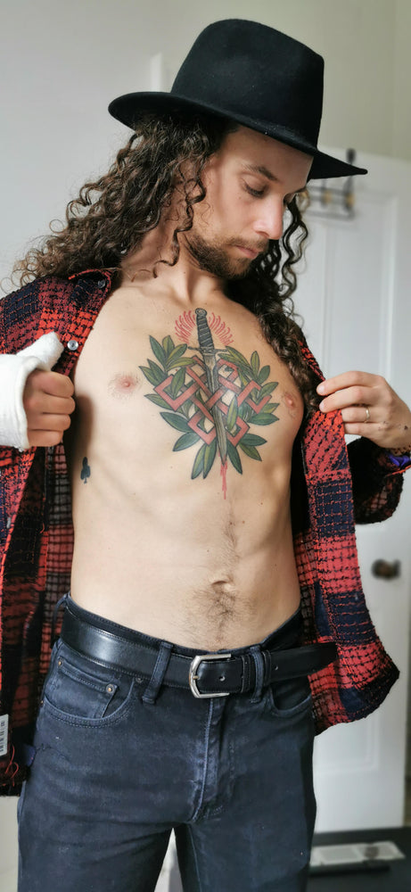 tattooed badboy bdsm long hair rocker