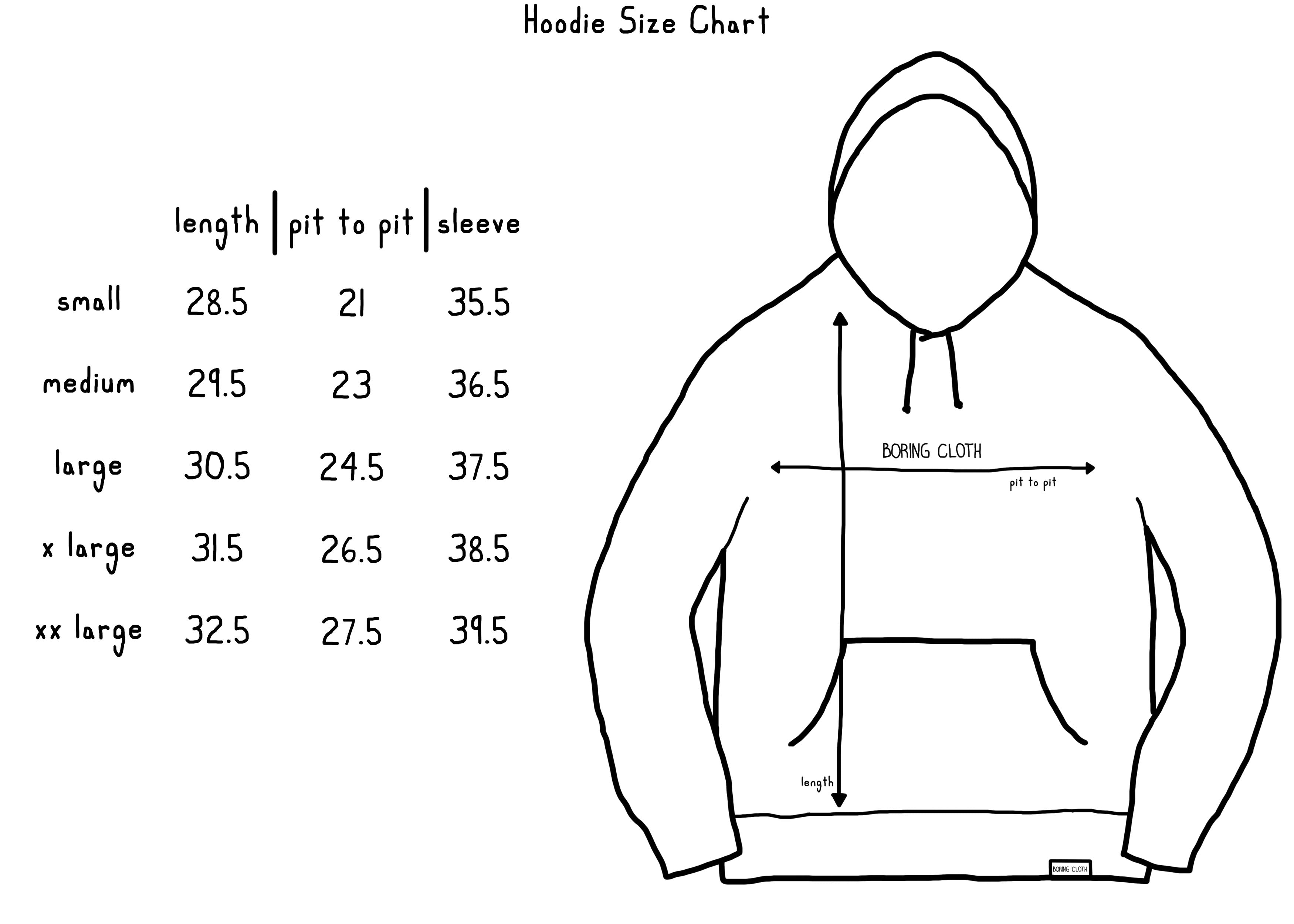 Boring Cloth Hoodie size chart.