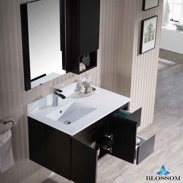 "Monaco 36"" Wall Mount Left Vanity Set with Mirror and Wall Cabinet"