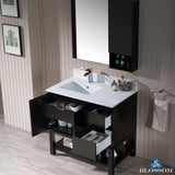 "Monaco 36"" Left Vanity Set with Mirror and Wall Cabinet"