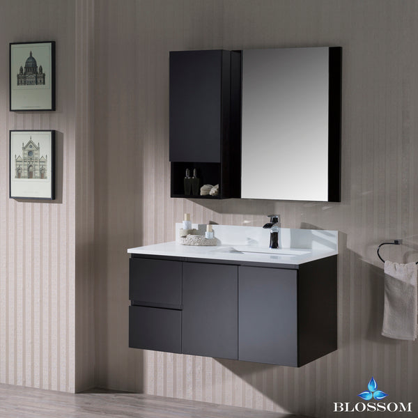 "Monaco 36"" Wall Mount Right Vanity Set with Mirror and Wall Cabinet"