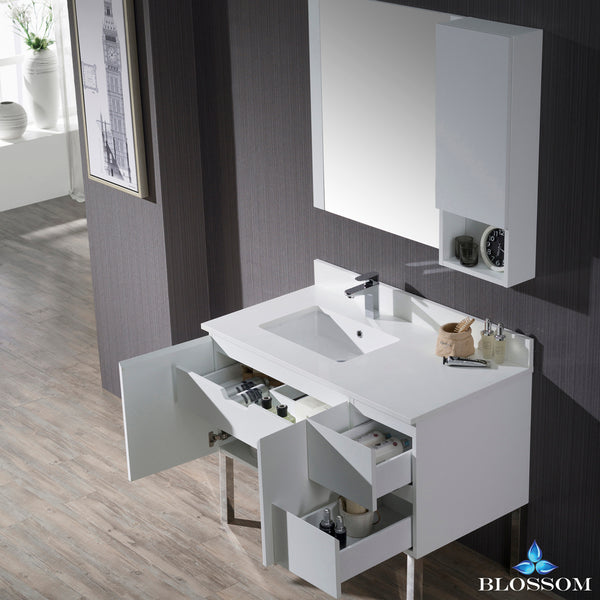 "Monaco 42"" Left Vanity Set with Mirror and Chrome Legs"