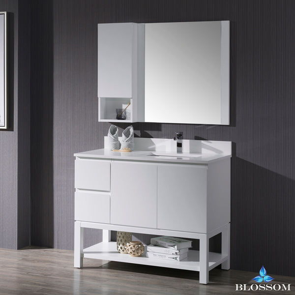 "Monaco 42"" Right Vanity Set with Mirror and Wall Cabinet"