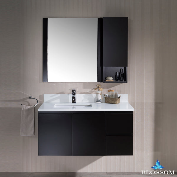 "Monaco 42"" Wall Mount Left Vanity Set with Mirror and Wall Cabinet"