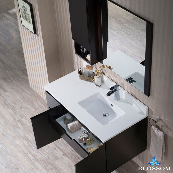 "Monaco 42"" Wall Mount Right Vanity Set with Mirror and Wall Cabinet"