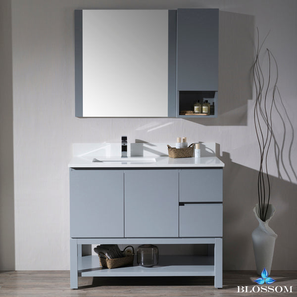 "Monaco 42"" Left Vanity Set with Mirror and Wall Cabinet"