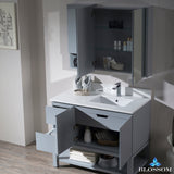 "Monaco 42"" Right Vanity Set with Medicine Cabinet and Wall Cabinet"