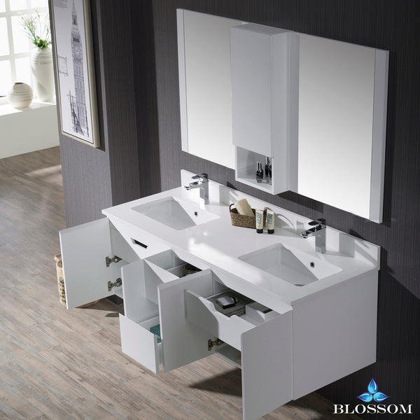 "Monaco 60"" Double Wall Mount Vanity Set with Mirror and Wall Cabinet"