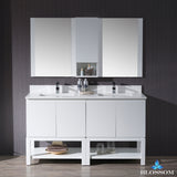 "Monaco 60"" Double Vanity Set with Mirror and Wall Cabinet"