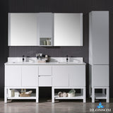 "Monaco 72"" Double Vanity Set with Linen Cabinet"