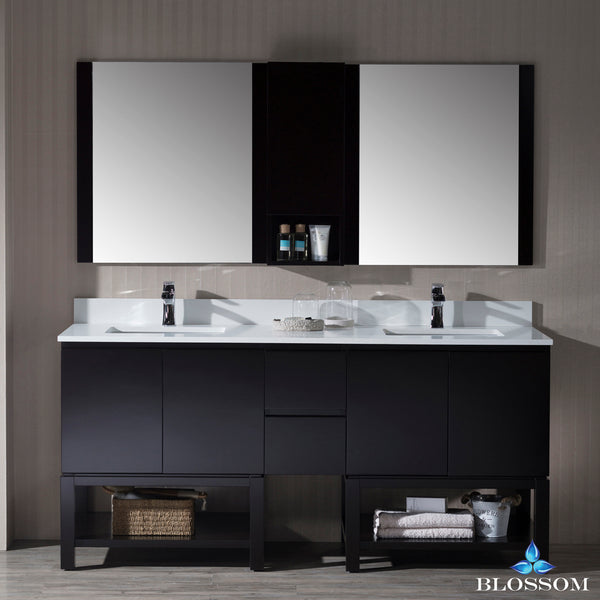 "Monaco 72"" Double Vanity Set with Mirror and Wall Cabinet"