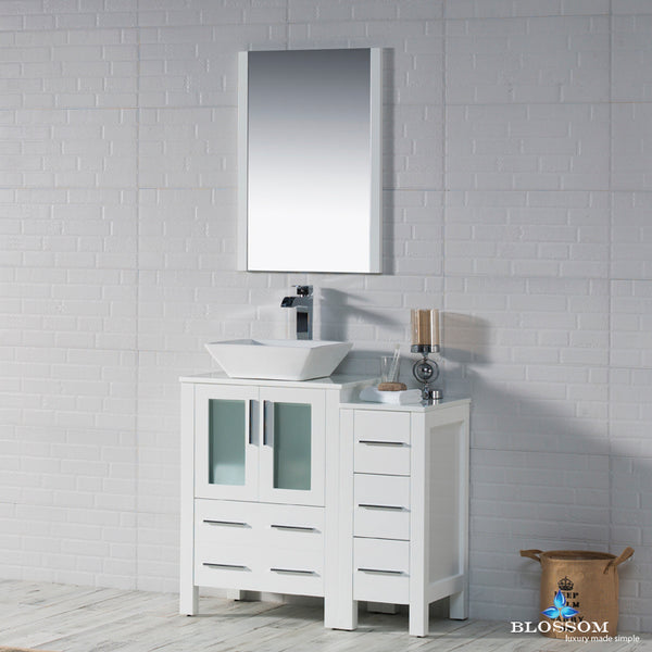 "Sydney 36"" Vanity Set with Vessel Sink and Side Cabinet"