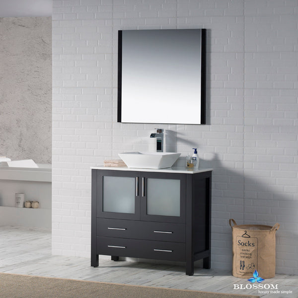"Sydney 36"" Vanity Set with Vessel Sink and Mirror"