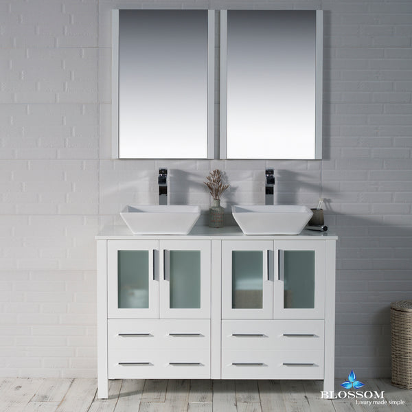 "Sydney 48"" Double Vanity Set with Vessel Sinks and Mirrors"