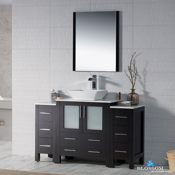 "Sydney 54"" Vanity Set with Vessel Sink and Double Side Cabinets"