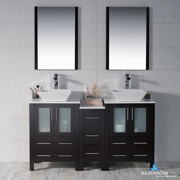 "Sydney 60"" Double Vanity Set with Vessel Sinks and Mirrors"