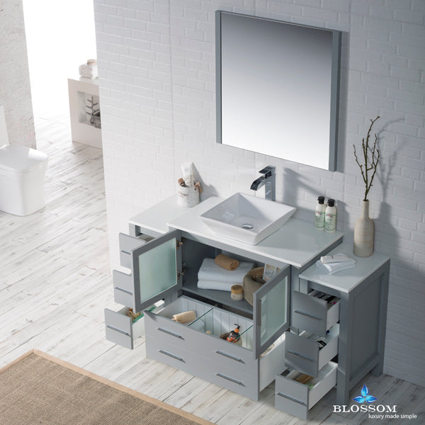 "Sydney 60"" Vanity Set with Vessel Sink and Double Side Cabinets"