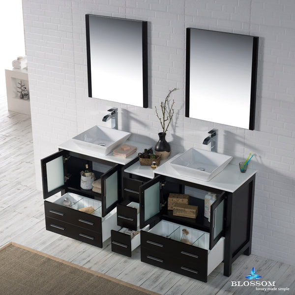 "Sydney 72"" Double Vanity Set with Vessel Sinks and Mirrors"