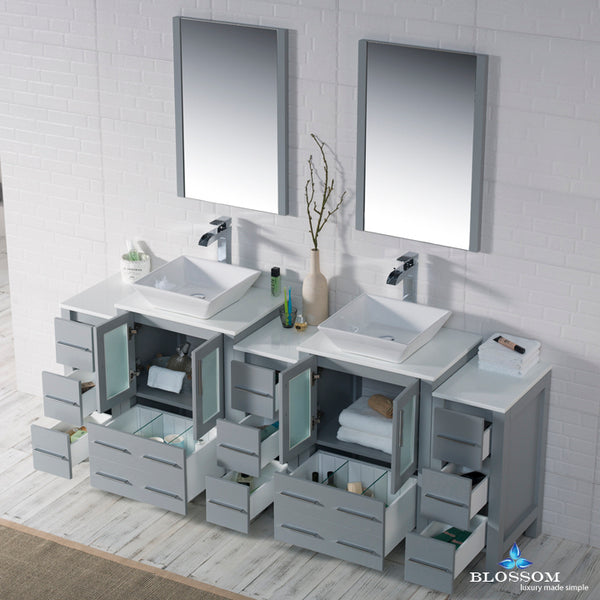 "Sydney 84"" Vanity Set with Vessel Sink and Double Side Cabinets"