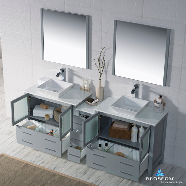 "Sydney 84"" Double Vanity Set with Vessel Sinks and Mirrors"