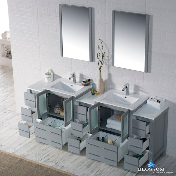 "Sydney 84"" Vanity Set with Double Side Cabinets"