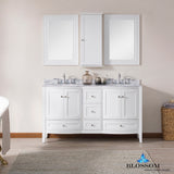 "Rome 60"" Double Vanity Set with Mirror and Wall Cabinets"