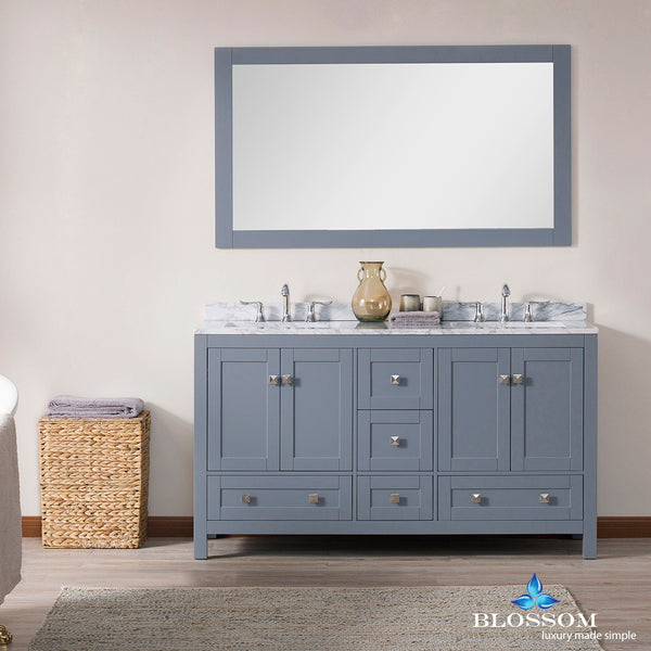 "Dubai 60"" Double Vanity Set with Mirror"