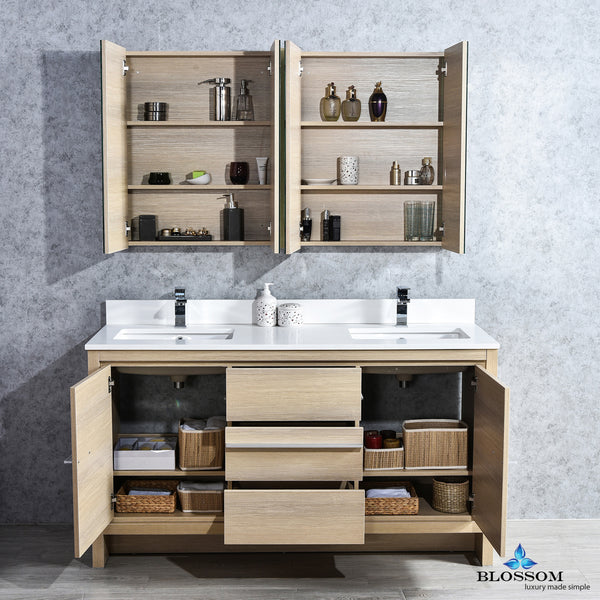 "Milan 60"" Double Vanity Set with Medicine Cabinets"