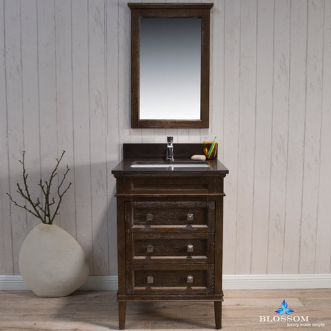"Bordeaux 24"" Vanity Set with Mirror and Mocha Woodland Quartz Countertop"