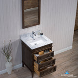 "Bordeaux 24"" Vanity Set with Mirror and White Carrara Marble Countertop"