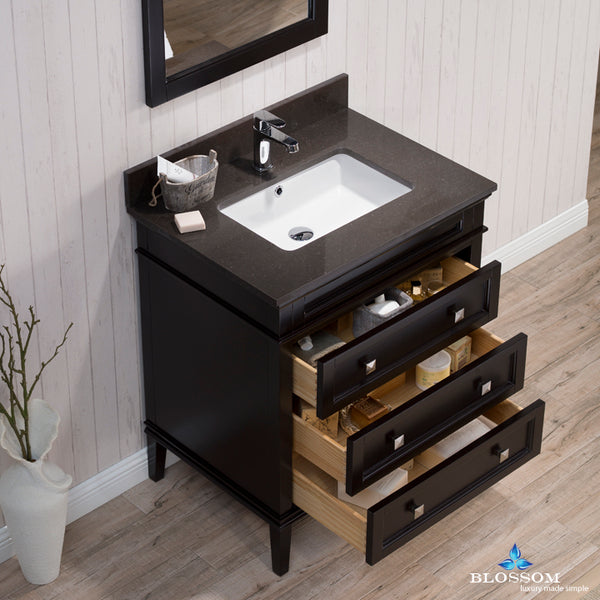 "Bordeaux 30"" Vanity Set with Mirror and Mocha Woodland Quartz Countertop"