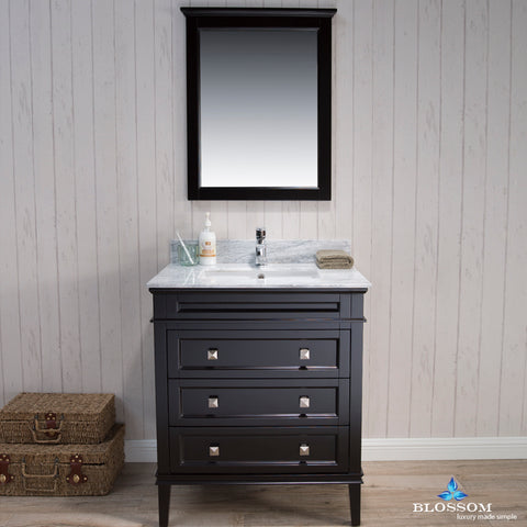 "Bordeaux 30"" Vanity Set with Mirror and White Carrara Marble Countertop"