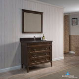 "Bordeaux 36"" Vanity Set with Mirror and Mocha Woodland Quartz Countertop"