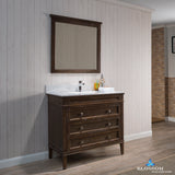 "Bordeaux 36"" Vanity Set with Mirror and White Carrara Marble Countertop"
