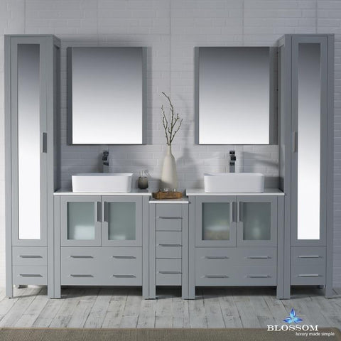 "Sydney 102"" Vanity Set with Vessel Sinks and Mirror Linen Cabinet"