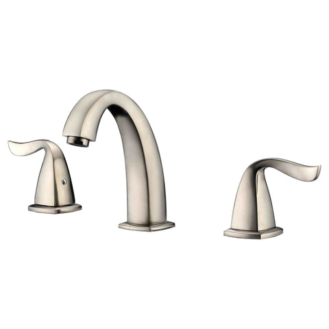 "Dawn? 3-hole widespread lavatory faucet with lever handles for 8"" centers, Brushed Nickel (Standard pull-up drain with lift rod D90 0010BN included)"