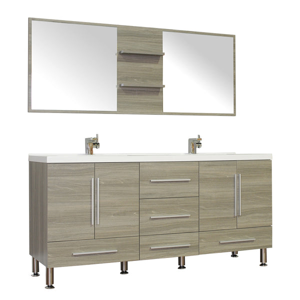 "Ripley 67"" Double Modern Bathroom Vanity Set in Gray with Mirror"
