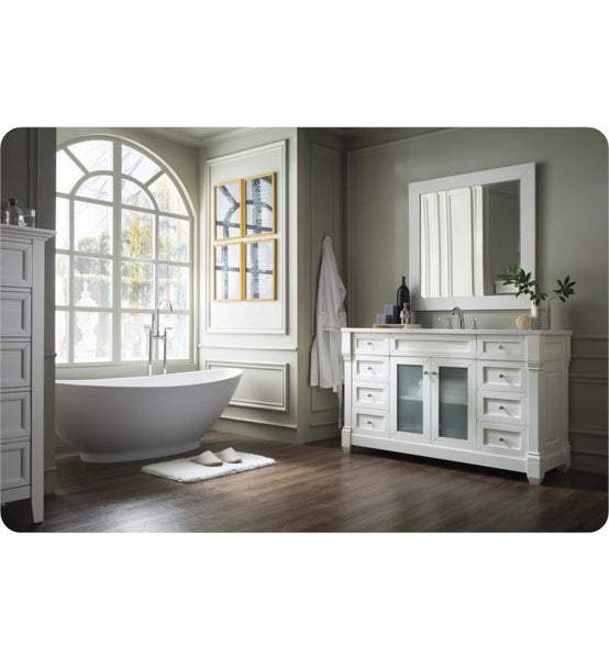 "Weston 60"" Single Vanity w/ Glass Doors, Cottage White w/ Arctic Fall Top"