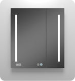 AQUADOM Led Medicine cabinet for Bathroom With Dimable LED Light- Integrated Clock & USB Ports With Outlets-Recessed & Surface Mount-Defog Mechanism (36in x 30in x 5in)