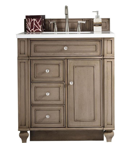 "Bristol 30"" Single Vanity, White Washed Walnut, Married Top - Snow White Quartz"