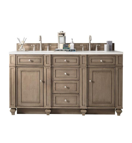 "Bristol 60"" Double Vanity, White Washed Walnut"