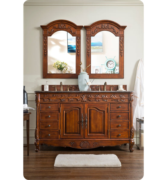 "St. James 60"" Double Granite Top Vanity, Cherry"