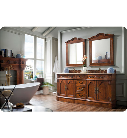 "Amalfi 72"" Double Travertine Top Vanity, Cherry"