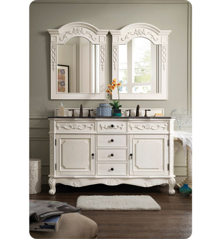 "Costa Blanca 60"" Double Granite Top Vanity, Antique White"