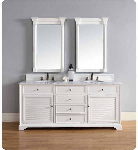 "Savannah 72"" Double Vanity Cabinet, Cottage White"
