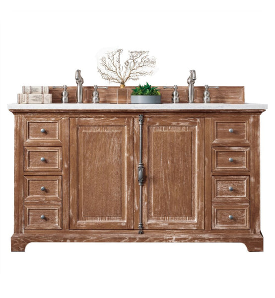 "Providence 60"" Double Vanity Cabinet, Driftwood"