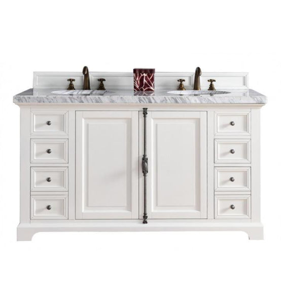 "Providence 60"" Cottage White Double Vanity with 2 CM Galala Beige Marble Top"