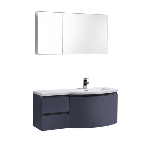 "Ripley 48"" Single Wall Mount Modern Bathroom Vanity (Right Sided) in Iron Gray without Mirror"