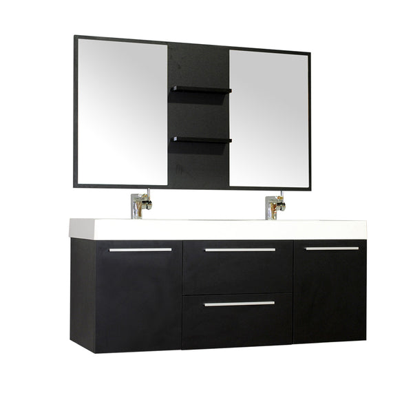 "Ripley 54"" Double Wall Mount Modern Bathroom Vanity Set in Black with Mirror"