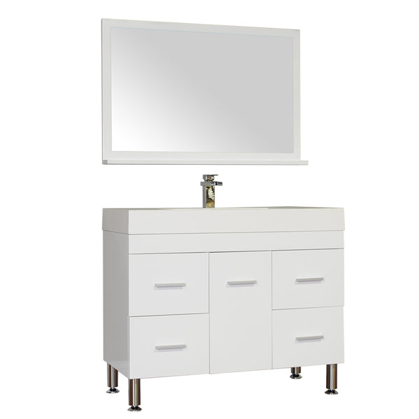 "Ripley 39"" Single Modern Bathroom Vanity in White without Mirror"